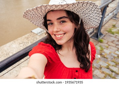 Latina Teen Woman Taking a Selfie. Concept socialmedia.