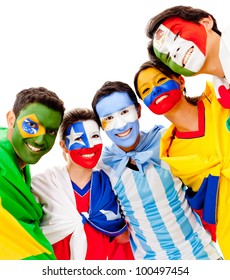 Latinamerican group with flags - isolated over a white background