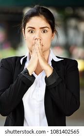Latino Business Woman Under Stress
