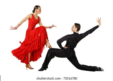 Latino dancers in action. Isolated on white