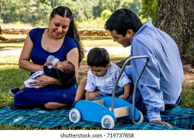 Latino family at the park