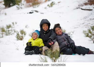 A latino grandmother hugging her grandson and granddaughter while sitting in a snow covered mountain, wearing winter clothing.