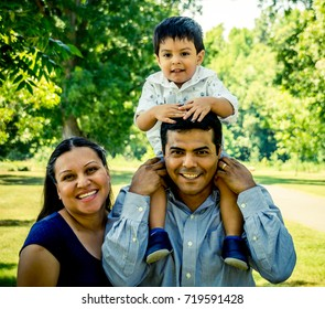 Latino Parents with their son