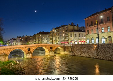Latin(Princip) Bridge on Miljacka River- Sarajevo, Bosnia and Herzegovina