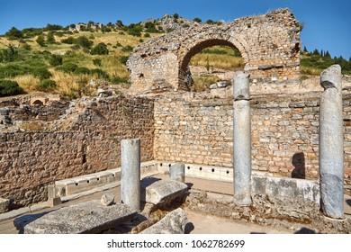 Latrines - public toilets in the ancient Ephesus city in Turkey