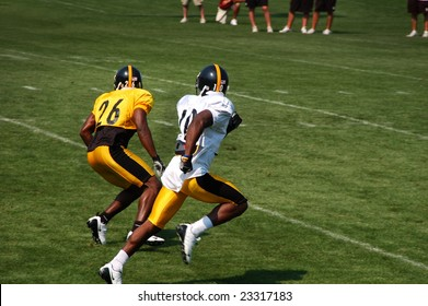 LATROBE, PA - JULY 29, 2008: Pittsburgh Steelers team practicing at training camp at St. Vincent College in Latrobe Pennsylvania for the 2008 2009 football season on July 29, 2008.
