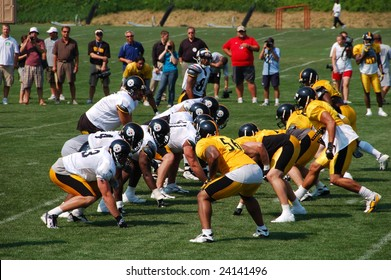 LATROBE, PA  JULY 29, 2008: Pittsburgh Steelers team practicing at training camp at St. Vincent College in Latrobe Pennsylvania for the 2008 2009 football season on July 29, 2008.