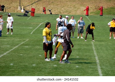 LATROBE, PA  JULY 29, 2008: Pittsburgh Steelers team with Troy Polamalu practicing at training camp at St. Vincent College in Latrobe Pennsylvania for the 2008 2009 football season on July 29, 2008.
