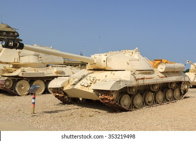 LATRUN, ISRAEL - APRIL 02, 2010: Left side of IS-3 in Yad La-Shiryon (The Armored Corps Memorial Site and Museum at Latrun)