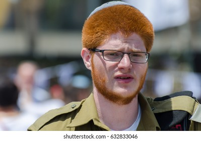 LATRUN, ISRAEL - MAY 02, 2017: Unidentified israeli redhead soldier at Latrun Armored Corps Museum