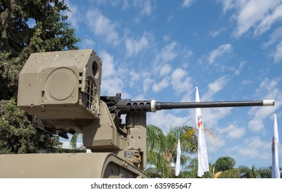 LATRUN, ISRAEL - MAY 02, 2017: The Samson Remote Controlled Weapon Station (RCWS), also known as Katlanit