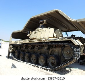 Latrun, Israel - May 12, 2016: Magach tank mounted with M2 Browning .50 caliber (12.7 mm) heavy machine gun. In Israeli service until recently. The tanks are based on the American M48 and M60 Patton
