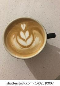 Latte art coffee flat white