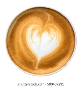 Latte art coffee with foam heart shaped top view isolated on white background