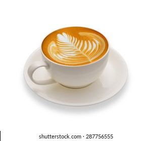 Latte Art, coffee isolated on white background
