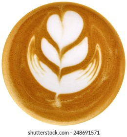 Latte art coffee isolated in white background