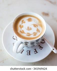Latte art hot coffee