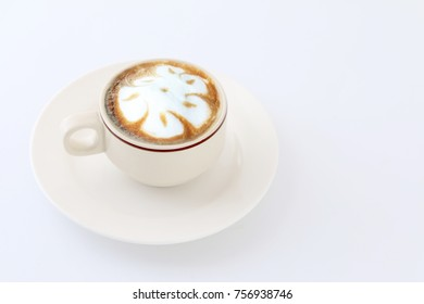 latte art hot coffee cup set on white background