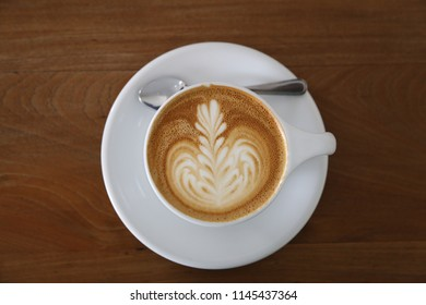 latte art on the coffee cup in top view