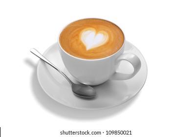 latte art on white background