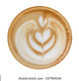 Latte art pattern foam top view isolated on white background, clipping path included