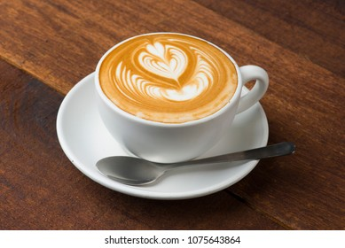 latte art with wood background