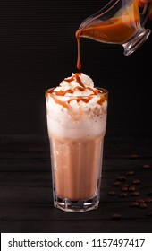 latte with caramel and candies