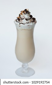 latte with chocolate, topping and cream on a white background, menu photo