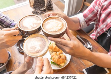 Latte coffee art and people meeting friendship togetherness coffee shop concept, vintage