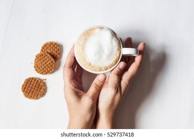 latte coffee and dutch waffle on a white background