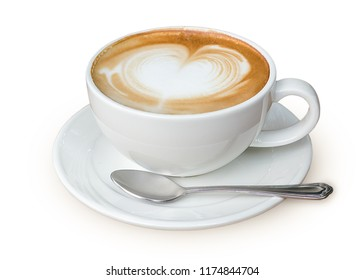 Latte coffee in white coffee cup with plate and spoon on white background with clipping path