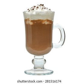 Latte with cream in irish coffee mug on white background included clipping path