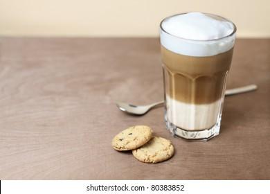 latte macchiato with cookies