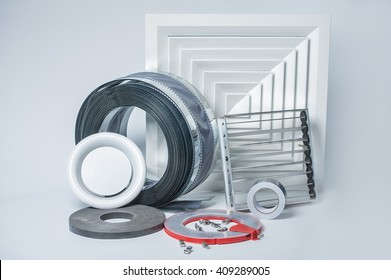 lattice, blinds, air ducts, an adhesive tape for ventilation systems on a white background