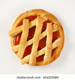 Lattice topped tart with jam filling