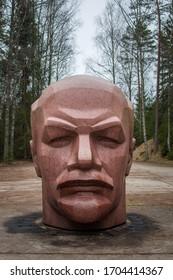 Latvia - April 2020: Gigantic statue of Vladimir Lenin's head, soviet rocket base in Zeltini.