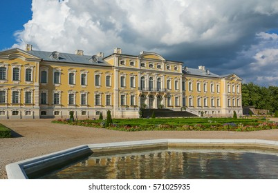 Latvia. The beautiful palace and the park in sunny day.