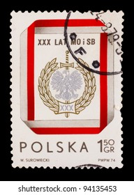 LATVIA - CIRCA 1974: A stamp printed in LATVIA, w. surowiecki, Latvia's coat of arms sword and eagle heads, circa 1974