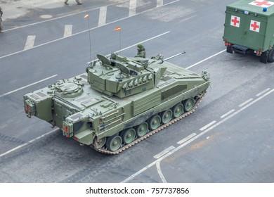 Latvia, city Riga, November 18th Independence Parade, Tanks and military people. 2017