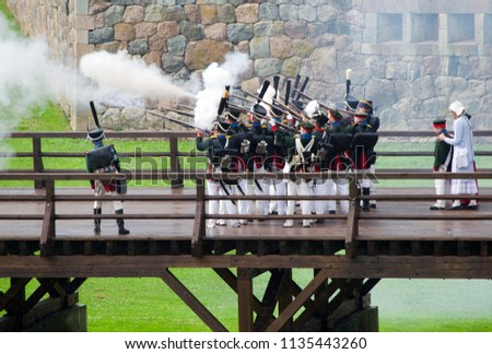 Latvia, Daugavpils - July 14, 2018: Dinaburg â 1812 International Festival of the Military Historical Reconstruction is dedicated to the time when the Dinaburg Fortress was attacked by Napoleonâs Army