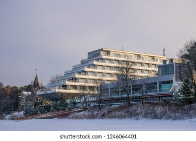 Jūrmala / Latvia - Dec 2015: The five-stars Baltic Beach Hotel on the bank of the Gulf of Riga of the Baltic Sea in famous Baltic resort at Christmas time. Winter in Baltic States.