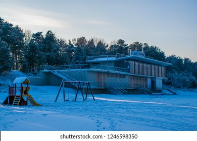 Jūrmala / Latvia - Des 2015: The old restourant on the beach of Baltic sea in Dubulti district in Jūrmala, the famous Baltic resort at Christmas time. Winter in Baltic States.