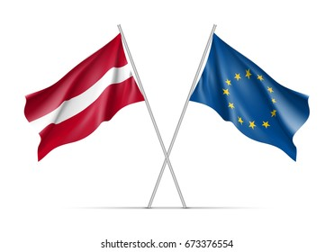 Latvia and European Union waving flags on flagpole. EU sign with twelve gold stars on blue and Latvia national symbol red and white colors. Two flags isolated on white background