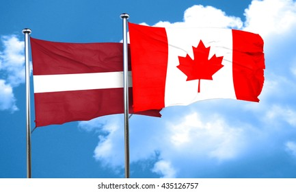 Latvia flag with Canada flag, 3D rendering