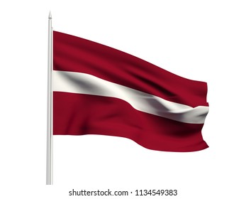 Latvia flag floating in the wind with a White sky background. 3D illustration.