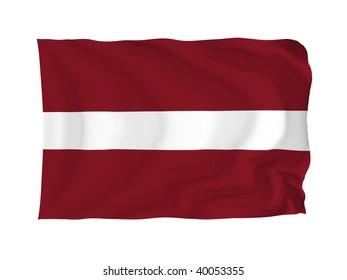 Latvia. High resolution European Flag series. With fabric texture.