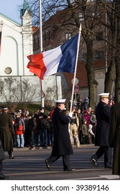 LATVIA - NOVEMBER 18: French Color Guard at Military parade of the National Armed Forces. 90th anniversary of establishment of the Republic of Latvia. Riga November 18, 2008