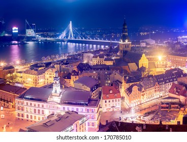 Latvia, Riga, 5 January - 2014. You can see Riga at night. This view is from St. Peter Church.