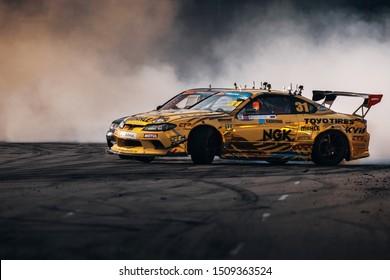 Latvia, Riga, Bikernieki Raceway - AUG 2, 2019: Drift Masters Riga Georgy Gocha Chivchan drift fast at Nissan Silvia S15