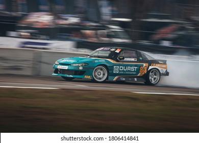 Latvia, Riga, Bikernieki raceway - AUG 14, 2020: Drift King of Riga 2020 Max Heidrich drive fast at Nissan Silvia S15 in drift